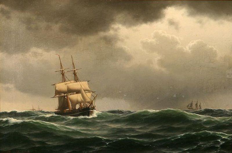 Sailing ships in heavy sea