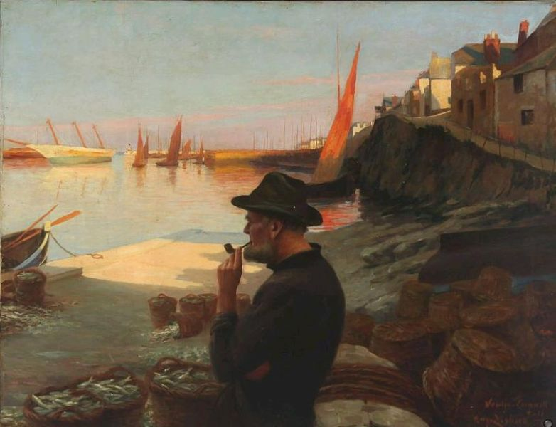 Fisherman overlooking the habour in the evening sun