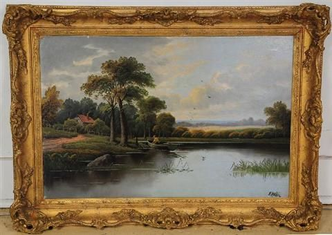 River Landscape with Figure in Boat