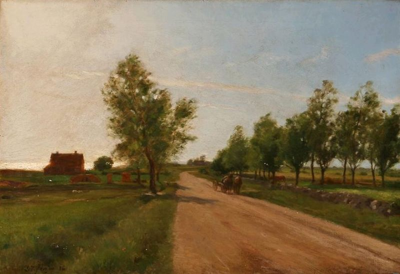 A country road with a horsecart