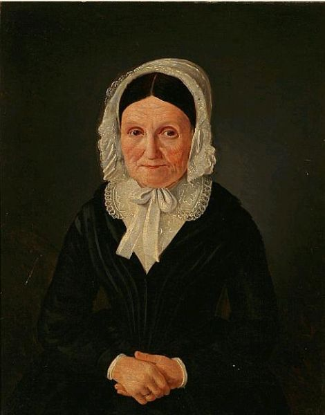 Portrait of an elderly woman in a black dress