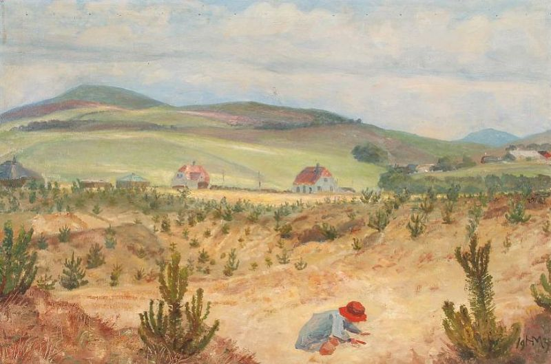 Hilly landscape with a little girl playing