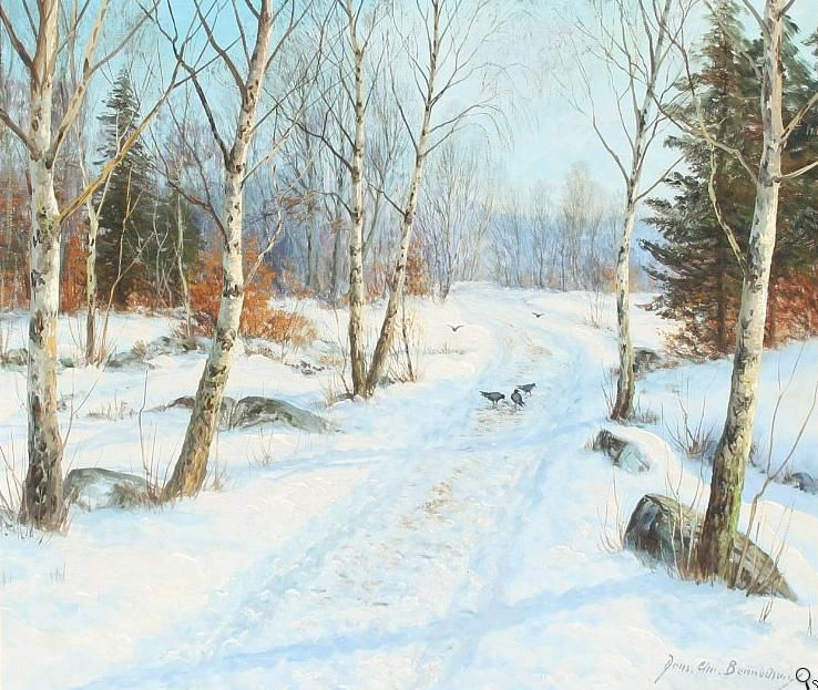Winter Forest with birch trees