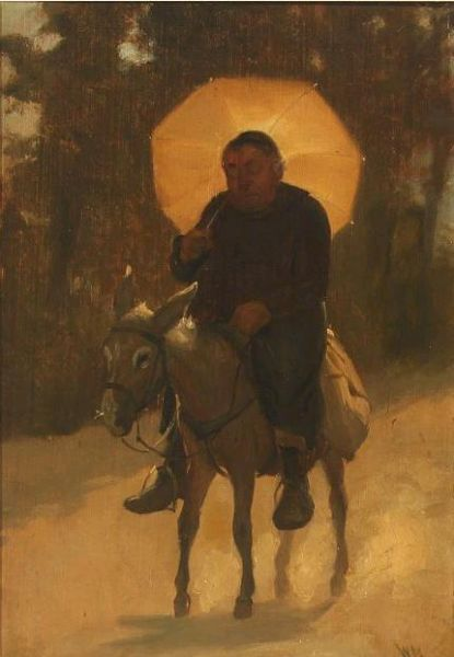 Monk riding on a donkey