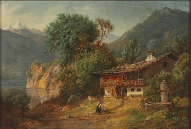 Mountain landscape with woman near house