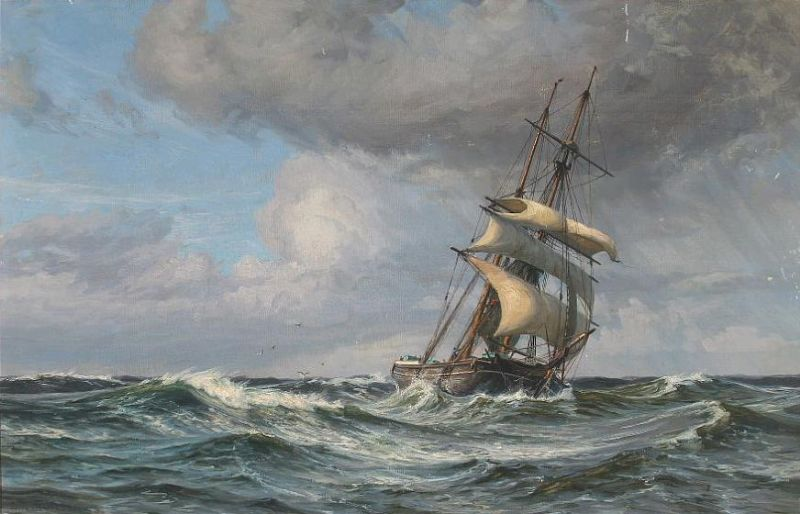 Ship in high seas