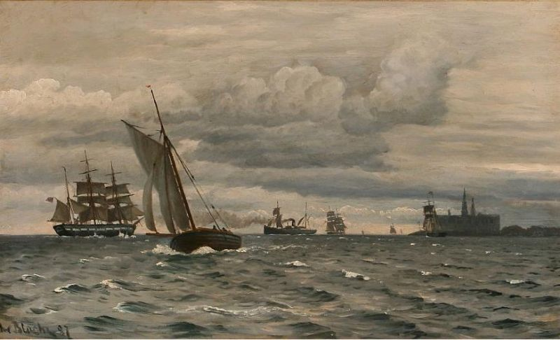 Coastal scene from Elsinor Castle with sailing ships on the sea