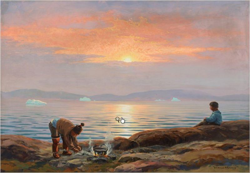 Costal scenery with inuits
