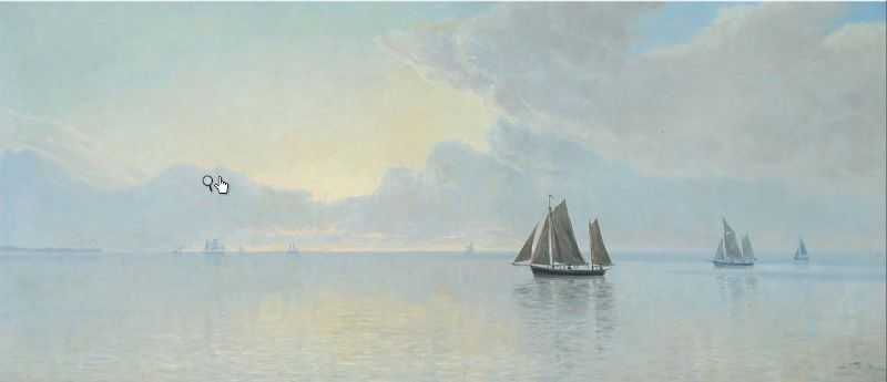Scenery from Horsens inlet with ships at sea, on a quiet day