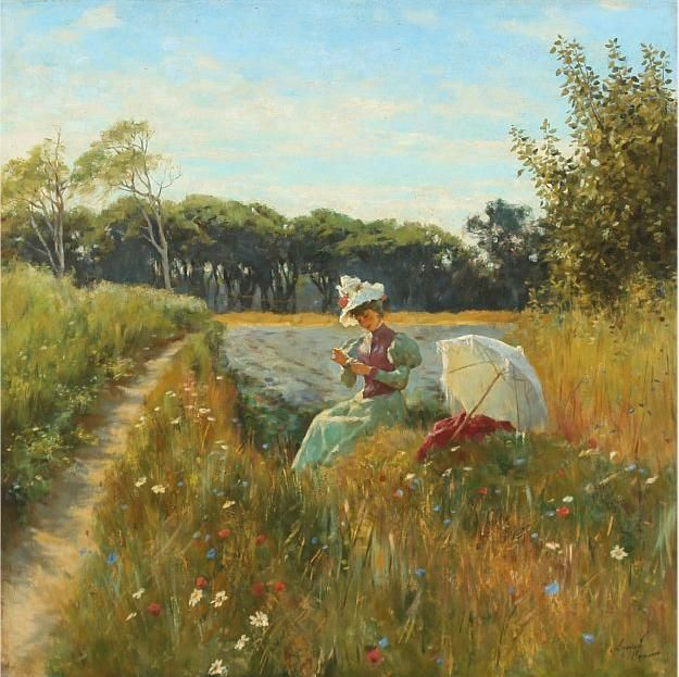 Summer day in the field with young woman and parasol.