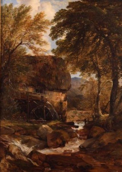 River Scene with Watermill and Figures on Bridge in Distance