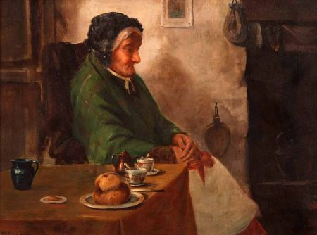 Lady Seated at a Table in Cottage Interior