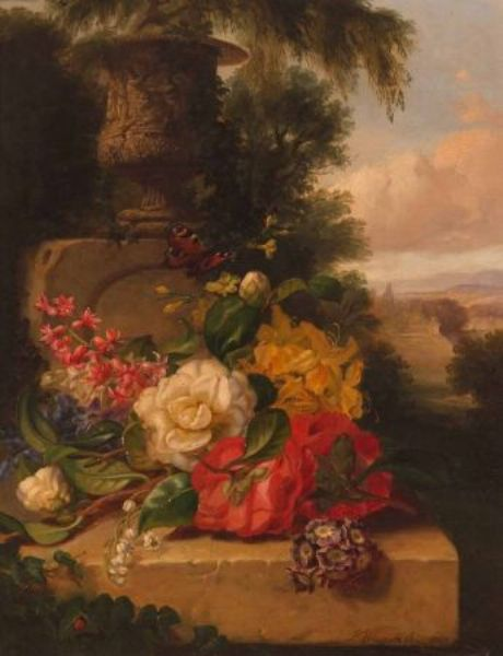 Still Life Study of Mixed Flowers and Butterfly on Marble Ledge