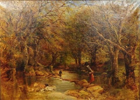 Forest Scene with River and Figures