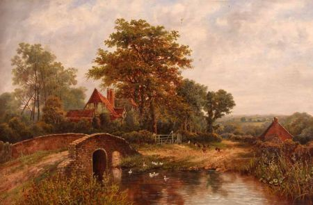 Country River Landscape with Cottage