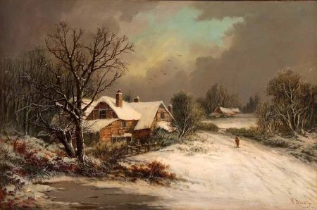 Winter Landscape with Figures by a Cottage