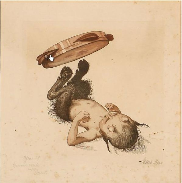 A young satyr lies on his back and juggling a tambourine with his horses legs