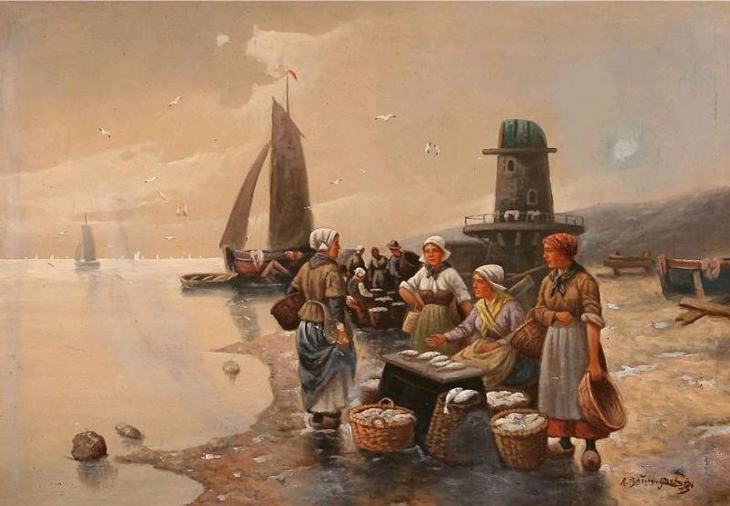 Fishermens' wifes on a beach