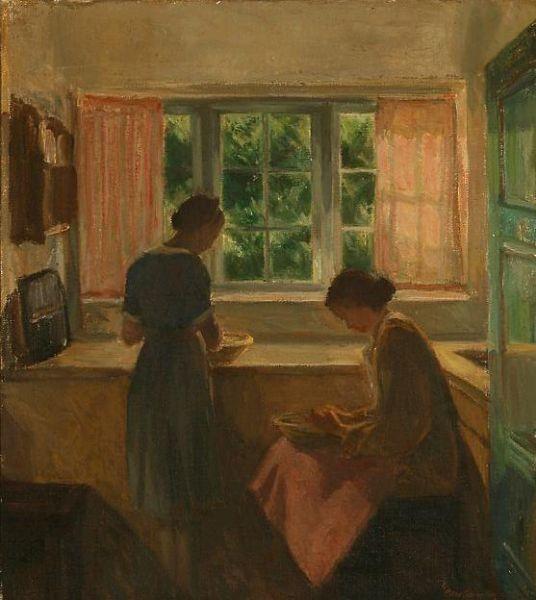 Kitchen interior with two women