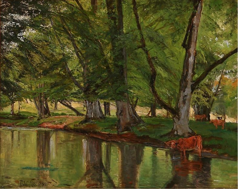 Forest scene with cows at a stream