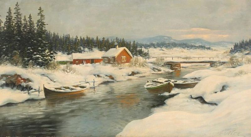 Norwegian wintry landscape with rowing boats and houses at a river