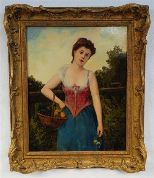 Woman with Basket of Fruit
