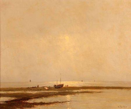 Coastal Scene with Boats and Fisherfolk