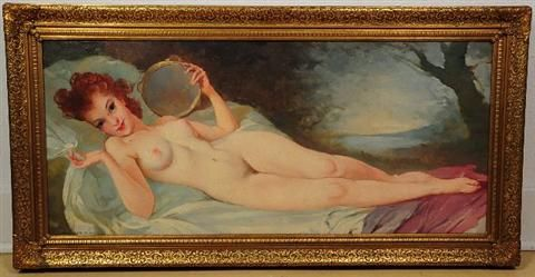 Reclining Nude with Tambourine