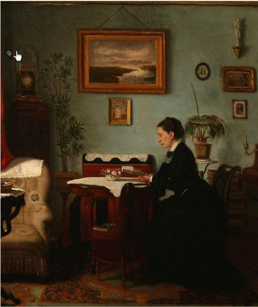Interior with a reading woman