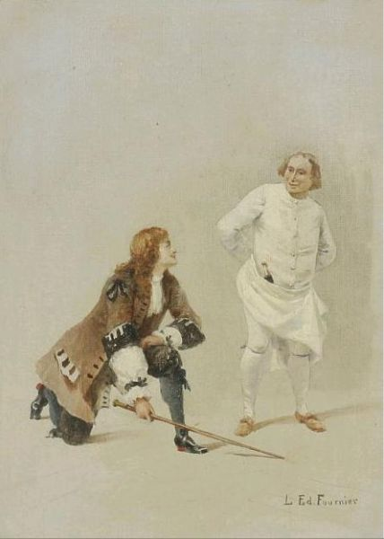 Scene with two men in rococo clothings