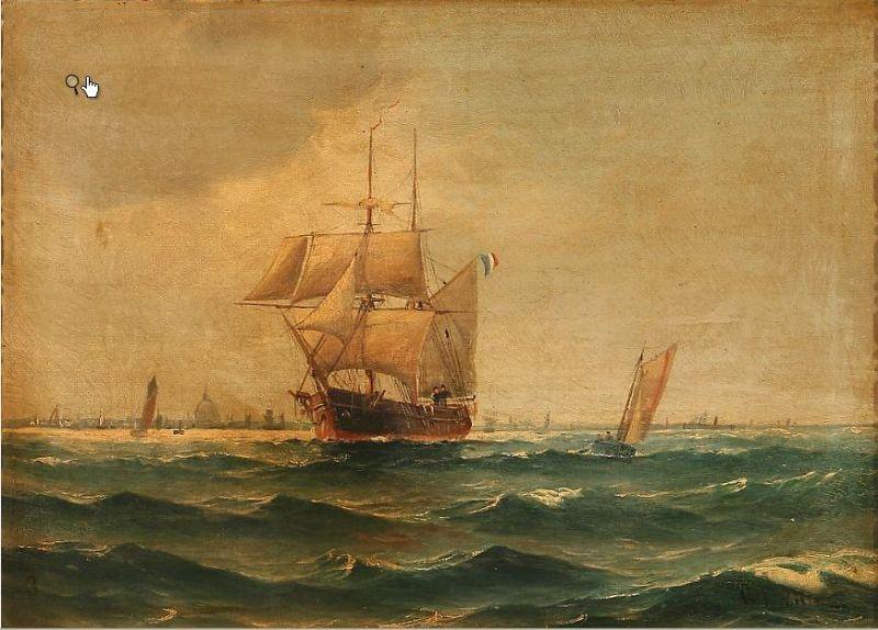Coastal scene wiht sailing ships on Copenhagen Roadstead.