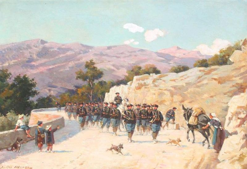 Southern landscape with French soldiers