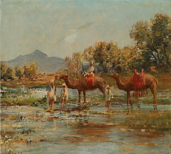 Bedouins with camels at a river.