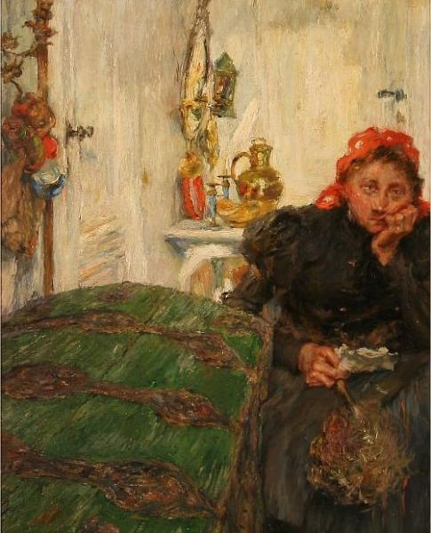 Interior with a tired woman