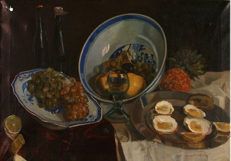 A table with wine, fruit and oysters