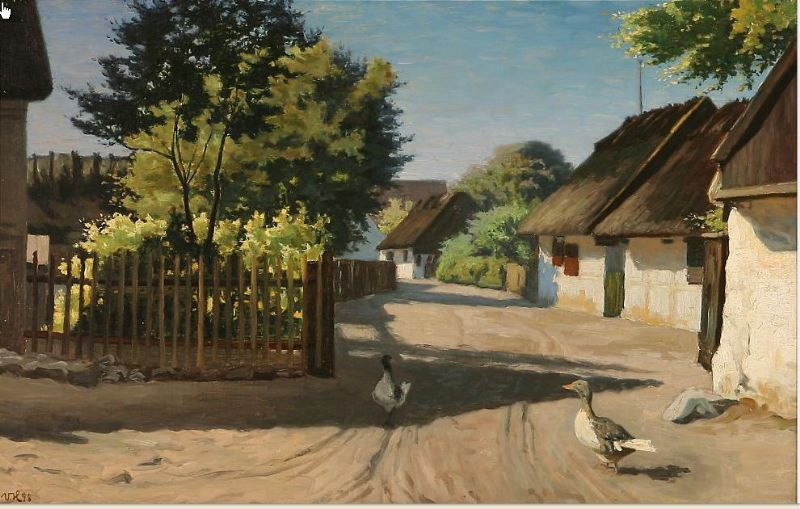 Summer day with geese on a road in Gilleleje, Denmark