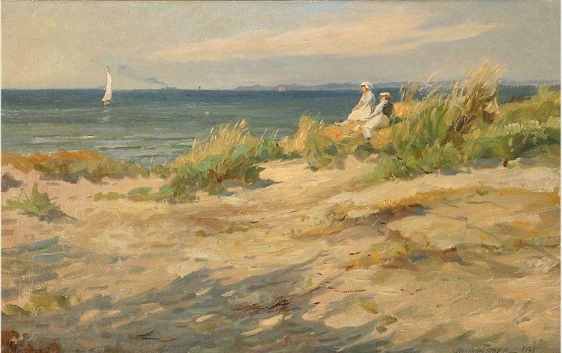 A young couple enjoys the Danish summer at Hornbæk Coast.