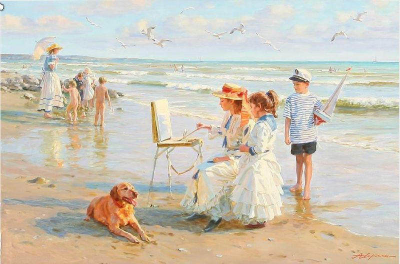 Summer scene with a young girl painting boys on the beach