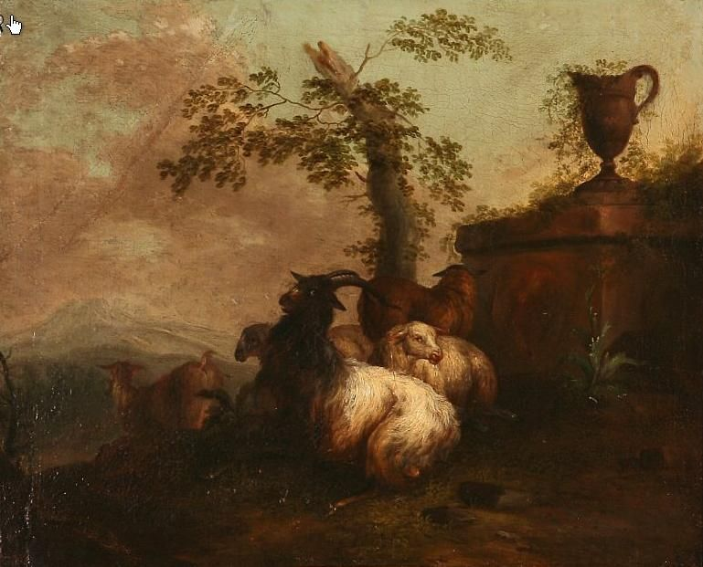 Landscape with goats by a classical monument