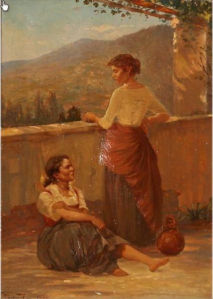 Two Italian women at a pergola.