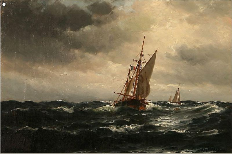 Seascape with sailing ships on the sea