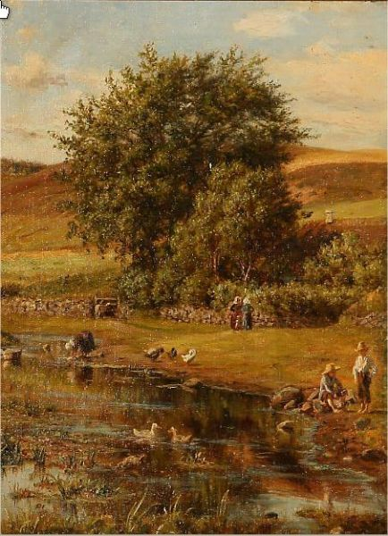 Summer idyll with people at a stream