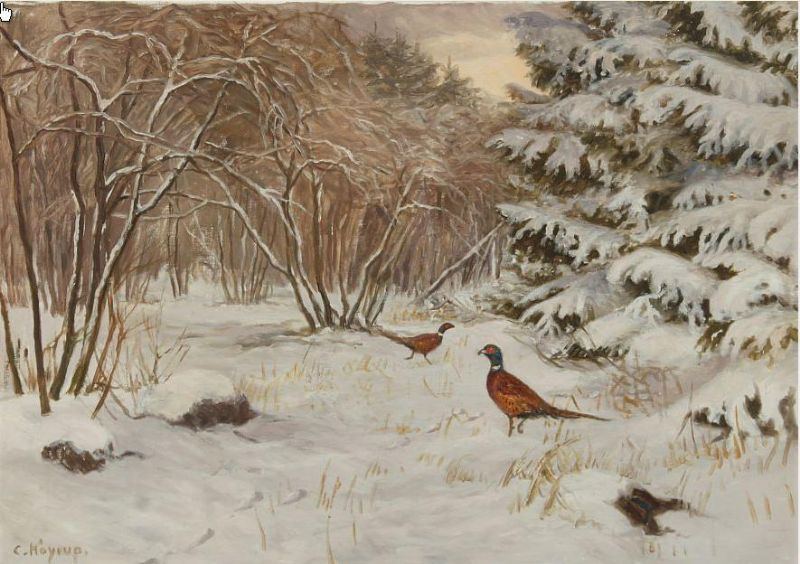 Wintry forest with pheasants.