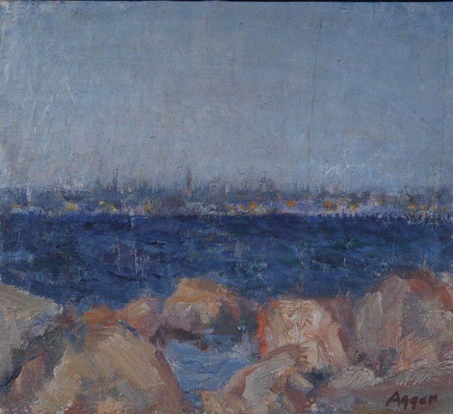 Coastal scene with harbour lights
