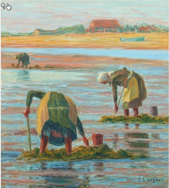 Mussel collectors at low tide.