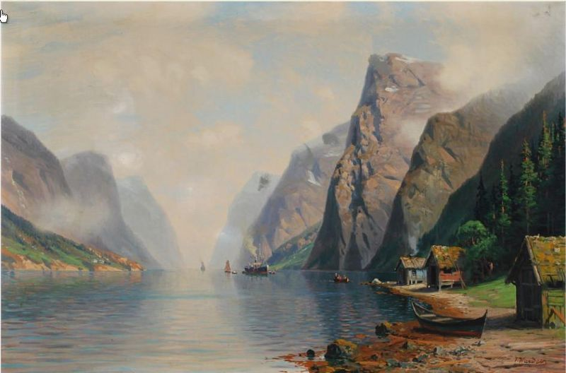 Norwegian mountainscape with houses and ships