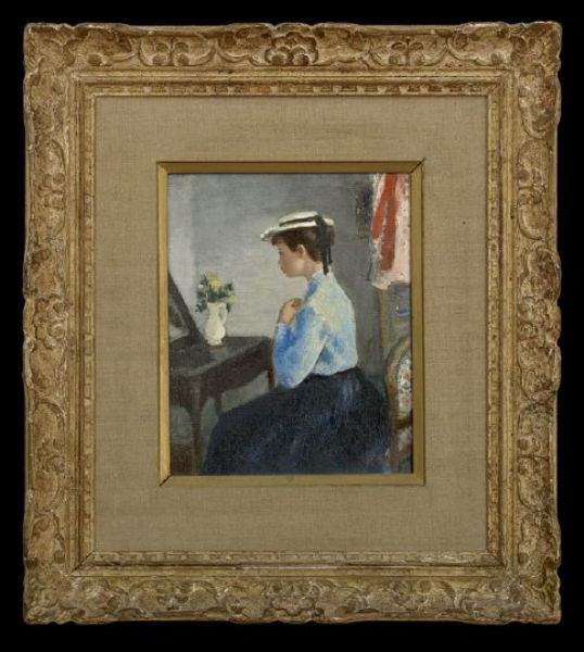 Interior Scene with a Girl in a White Hat Seated at Her Vanity