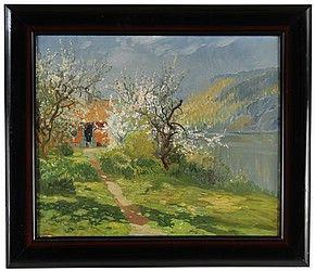 Vårlandskap med blommande träd