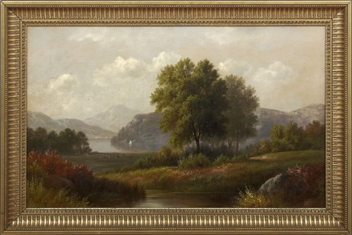 Hudson River Landscape with Cattle and Sailboats Visible in the Distance