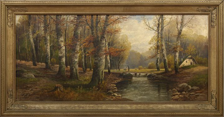 Wooded River Landscape with a Man Chopping Wood